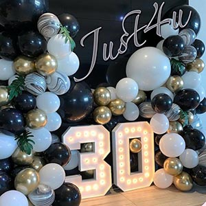 30th Birthday Balloon and LED numbers
