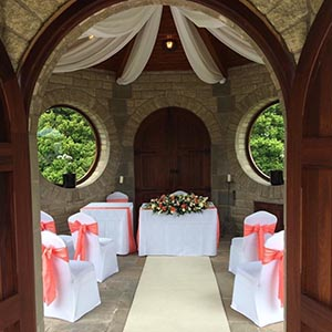 beautiful room set for wedding